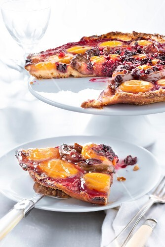 Apricot,quetsch plum,mirabelle plum and summer fruit tart