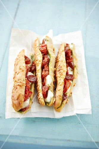 Pesto, chorizo and sun-dried tomato sandwiches