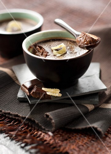 Individual chocolate cream dessert with candied ginger