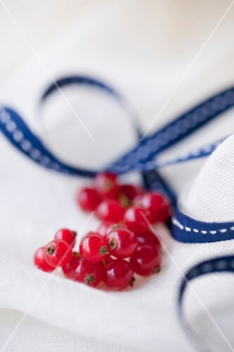 Bunch of redcurrants,tablecloth and ribbon