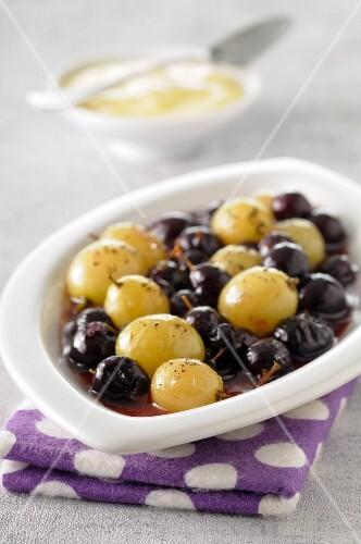 Black and white grape fruit salad with zabaglione