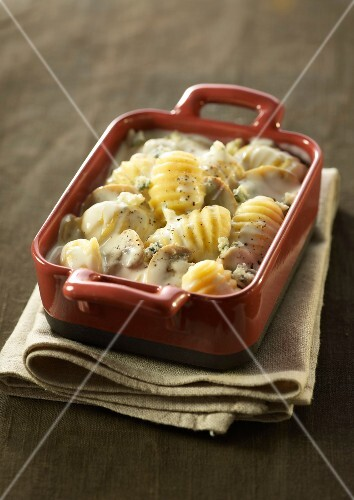 Dish of gnocchis with Fourme d'Ambert cream and mushrooms