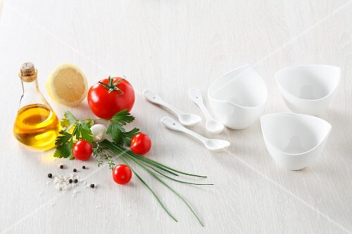 Ingredients and dishes for soup