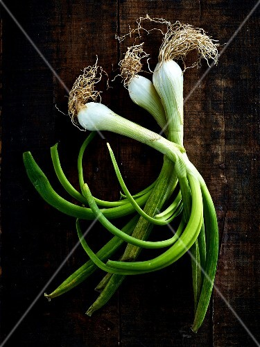 Still life with spring onions