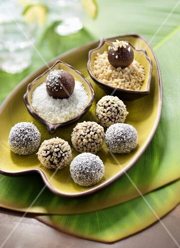 Brigadeiros,Bralizian-style chocolate truffles
