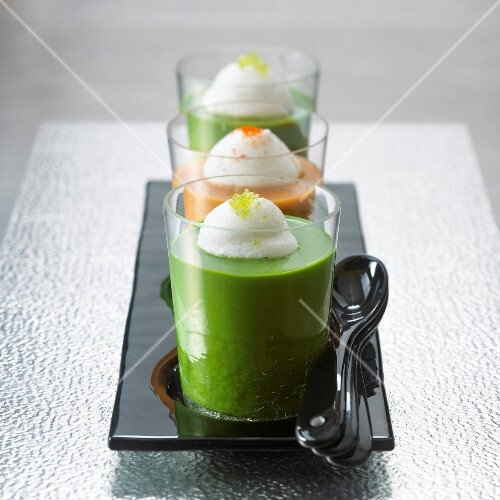Glasses of watercress soup and glass of lobster bisque
