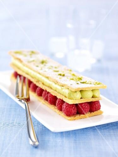 Raspberry-pistachio Mille-feuille