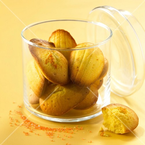 Glass jar of Madeleines