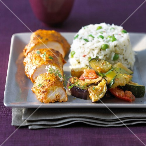 Indian-style chicken,stewed vegetables and basmati rice with peas