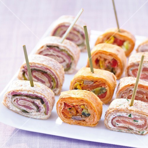 Assorted sliced wrap appetizers