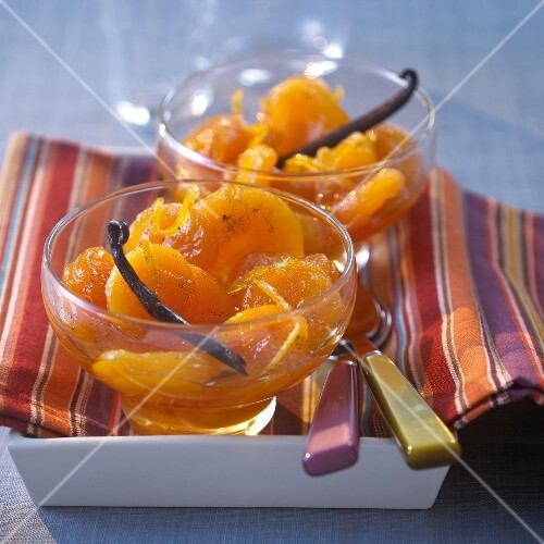 Apricots poached with vanilla and orange zests