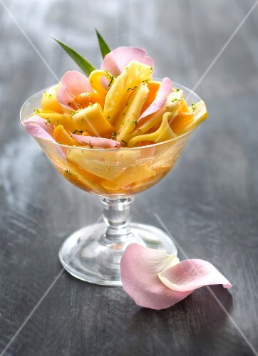 Exotic fruit salad with rose syrup
