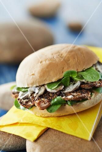 Filet Mignon smoked with herbs,Molène sausage and mushroom sauce Breizh burger