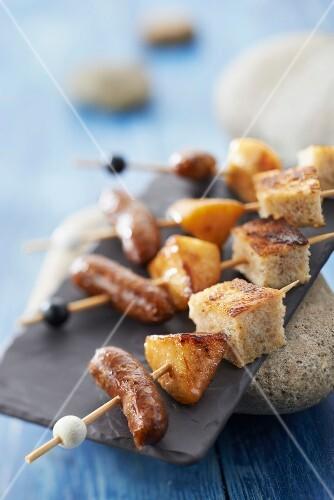 Appe french toast and mini Molène sausage brochettes