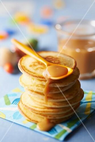 Buttermilk pancakes with milk jam