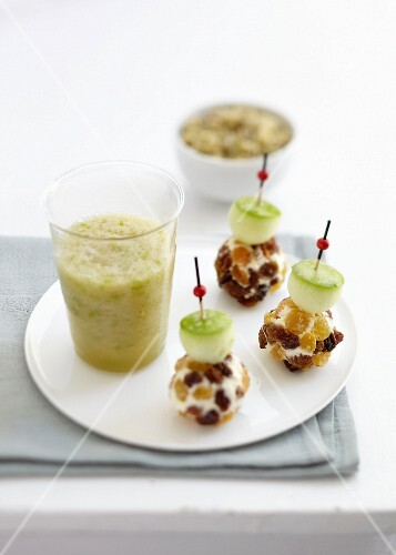 Green apple and Champagne soup ,Fromage frais,raisin and apple bites