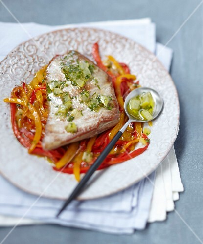 Tuna with lemon-cilantro sauce and Piperade