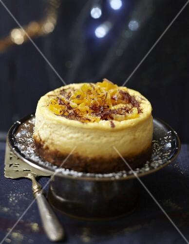 Mandarin and chocolate flake cheesecake