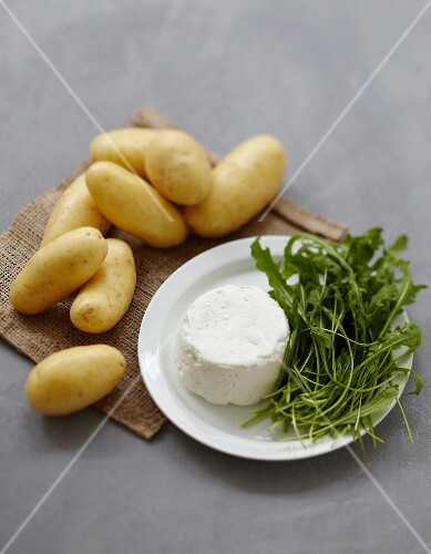 Ingredients for fresh goat's cheese and potato savoury cake