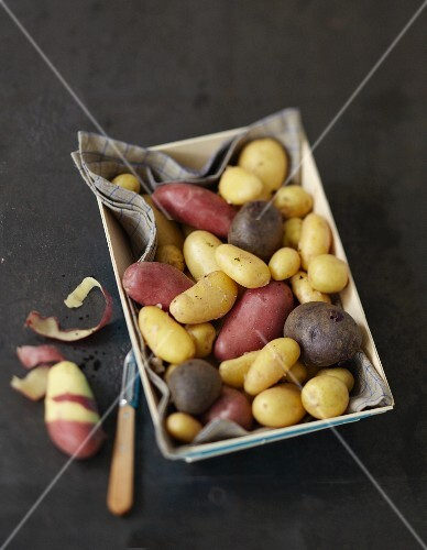 Crate of assorted potatoes