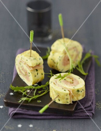 Rolled salmon and herb omelette bites