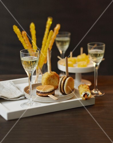Assorted appetizers on sticks