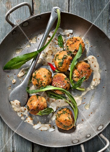 Salmon,herb and coconut croquettes