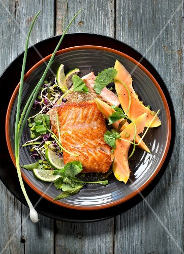 Piece of grilled salmon with exotic sprout and papaya salad