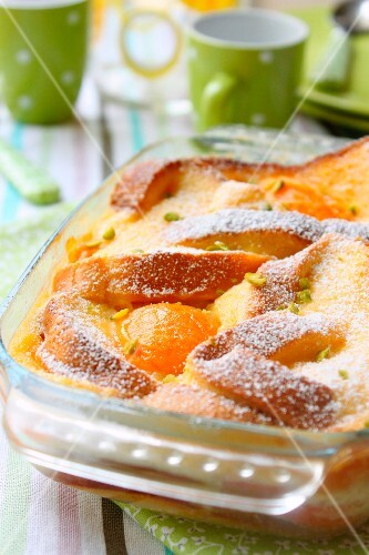 Apricot bread and butter pudding