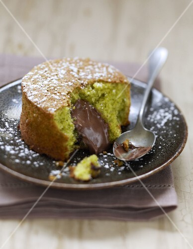 Pistachio fondant with a runny chocolate center