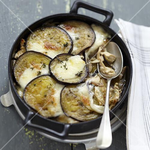 Eggplant,chicken,onion and mozzarella gratin