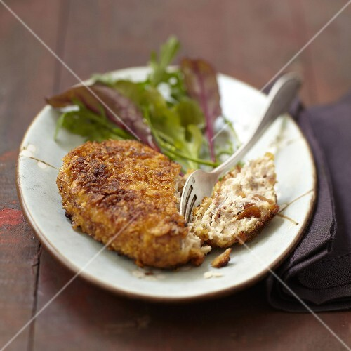 Poultry patty breaded with crushed cornflakes