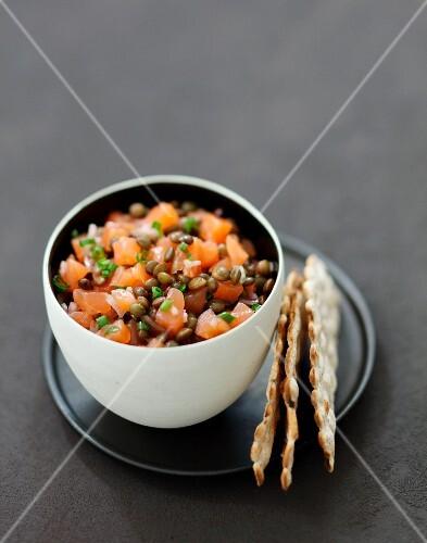 Salmon tartare with lentils