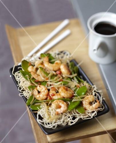 Shrimp and sugar pea Chop-suey