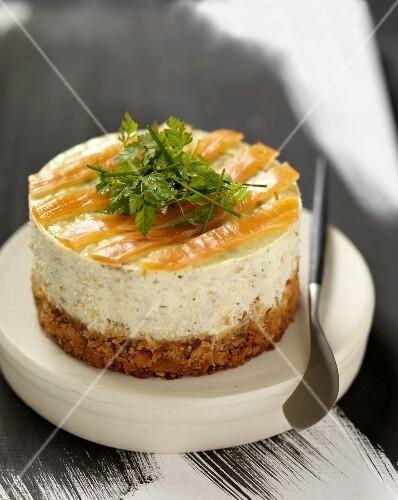 Small salmon cheesecake