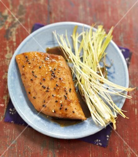 Glazed salmon with shichimi