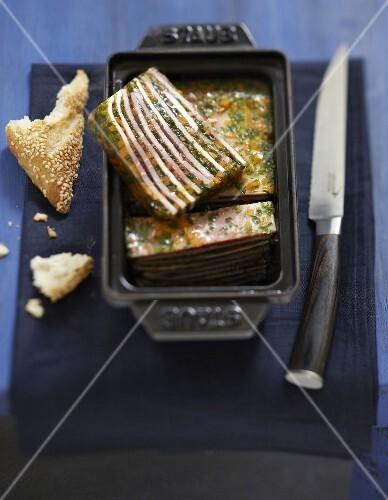 Ham,caper and herb terrine