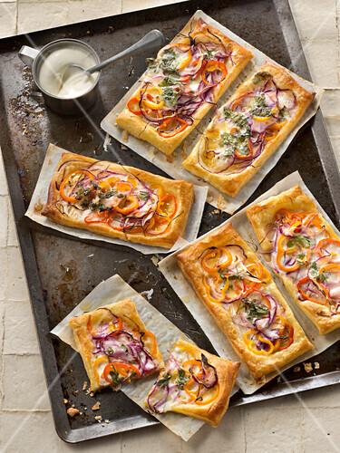 Pepper,red onion and cilantro cream tarts