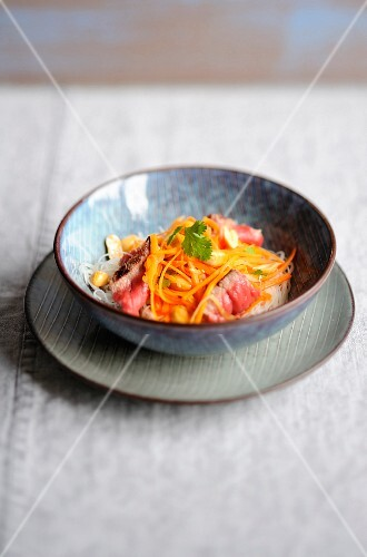 Noodle,beef and carrot salad