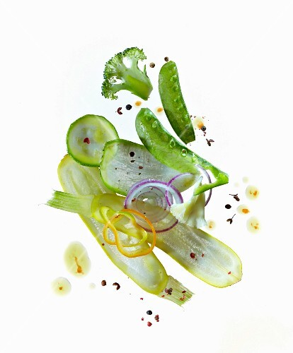 Vegetable carpaccio on a white background