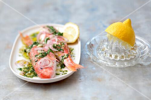 Fish in lemon,shallot and herb marinade