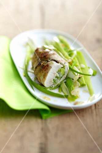 Chicken breast stuffed with leeks