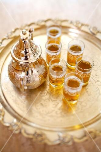 Teapot and glasses of mint tea