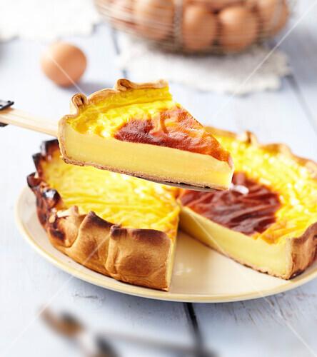Baked egg custard pie