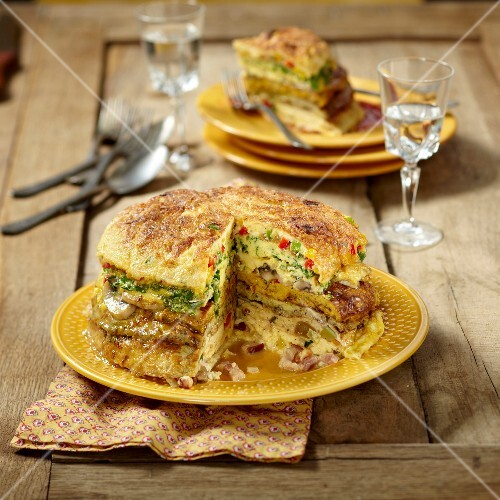 Garnished omelette cake
