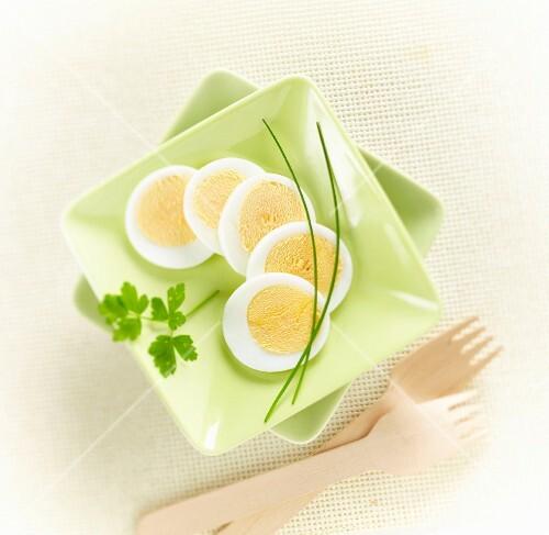 Sliced hard-boiled egg