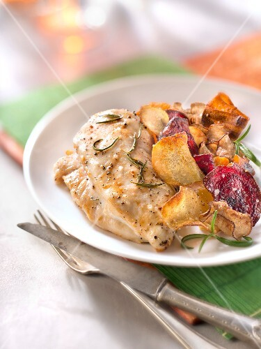 Chicken breast roasted with rosemary,vegetable chips