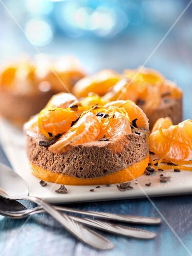Chocolate mousse and clementine small terrines