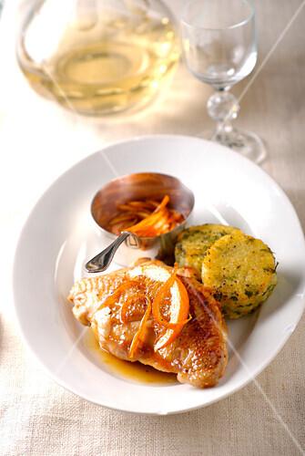 Chicken supreme with honey and orange,green polenta