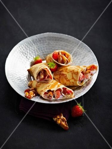 Strawberry and nougatine pancake wrap